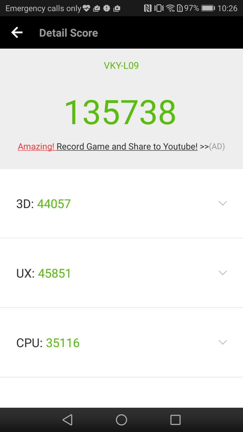 El Huawei P10 Plus que hemos probado obtiene 135.738 puntos en AnTuTu Benchmark v6.2.7