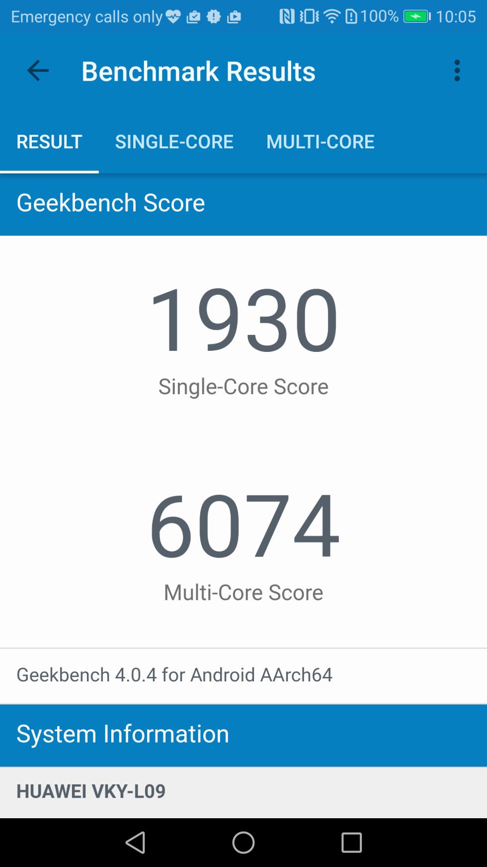 En la prueba de GeekBench 4, el móvil de Huawei alcanza los 1.930/6.074 puntos