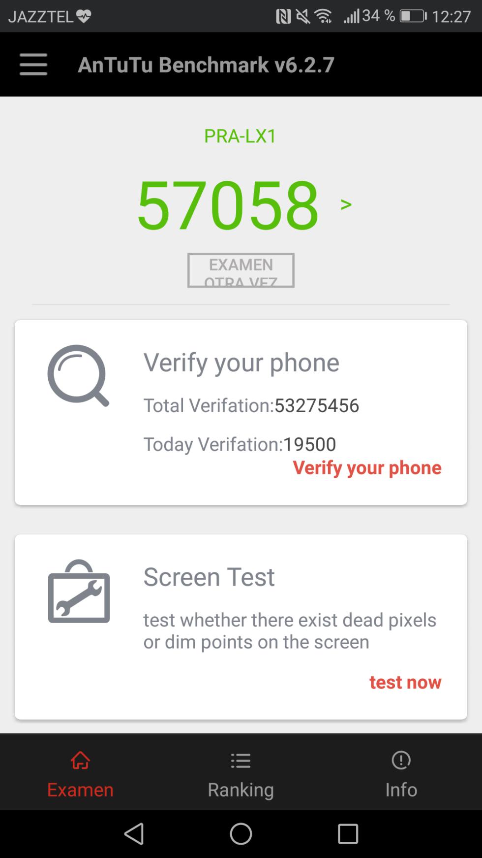 El Huawei P8 Lite 2017 de nuestra review obtiene 57.058 puntos en la prueba de AnTuTu Benchmark v6.2.7