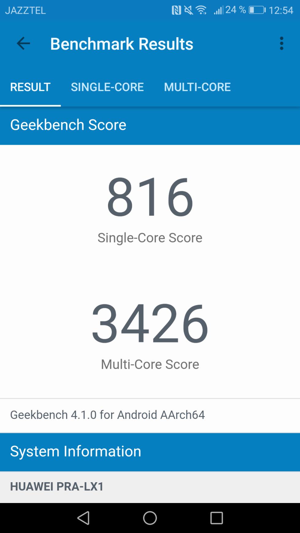 El P8 Lite logra los 816 puntos en la prueba mononúcleo de GeekBench 4, y los 3.426 puntos en la prueba multinúcleo