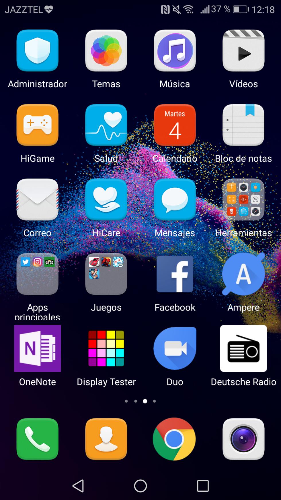 Algunas de las aplicaciones instaladas de serie en el teléfono