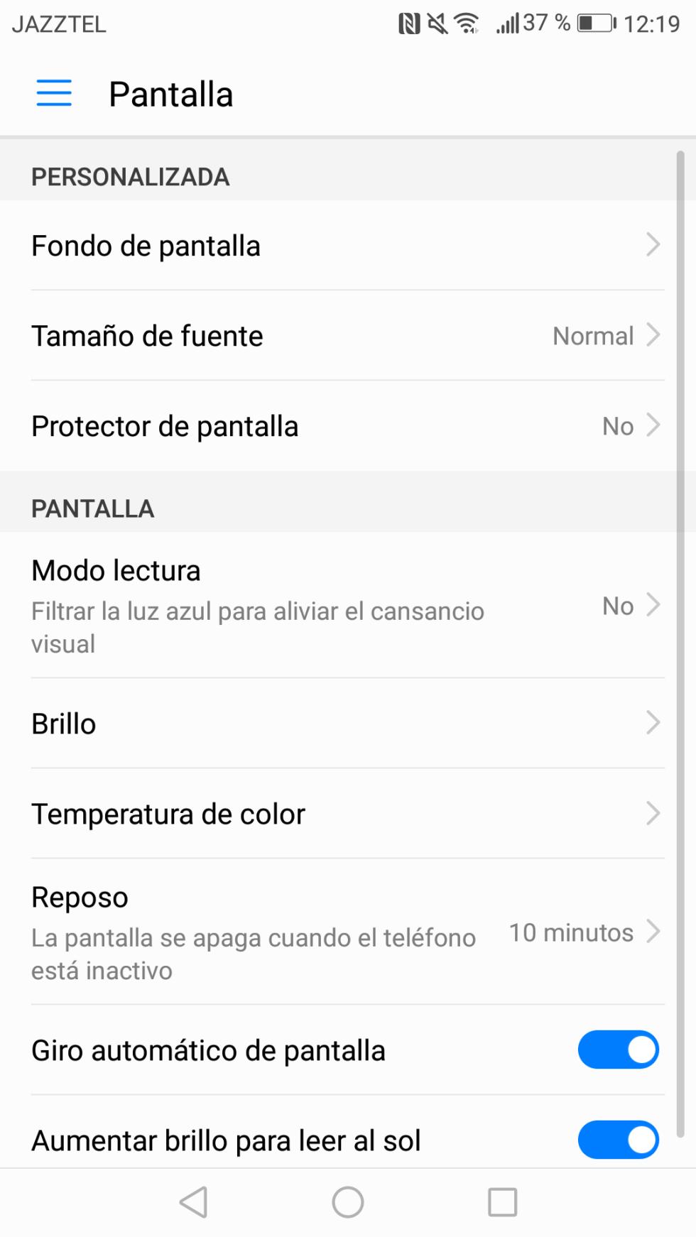 Opciones de configuración de la pantalla