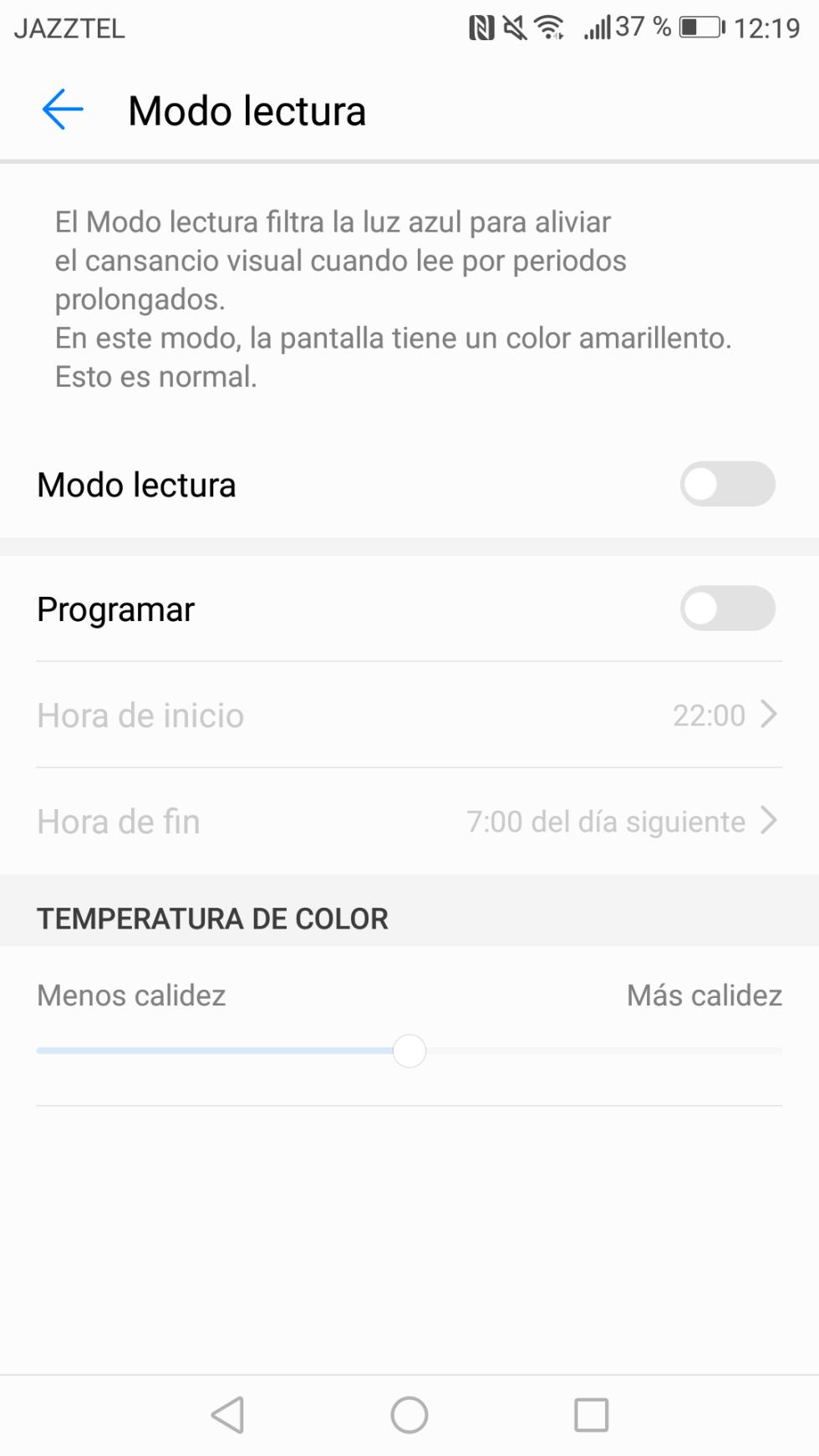 El Modo Lectura permite filtrar la luz azul para evitar que la pantalla moleste a la vista al utilizarla de noche