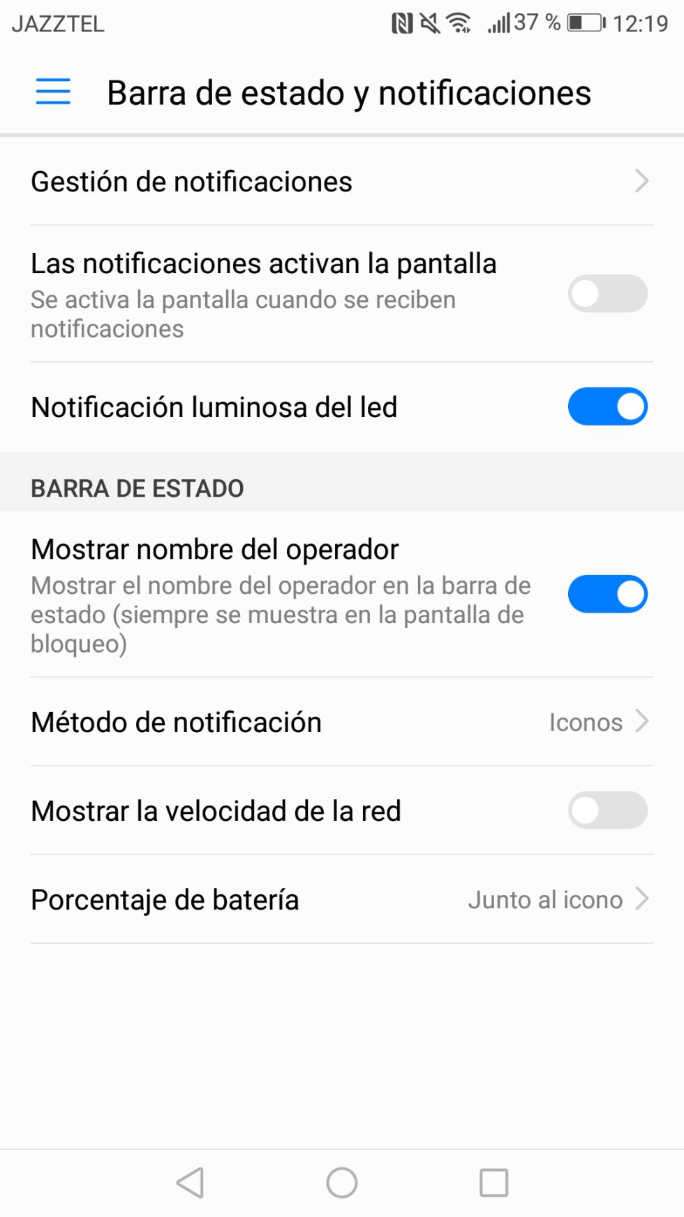 El LED de notificaciones se puede configurar desde los ajustes
