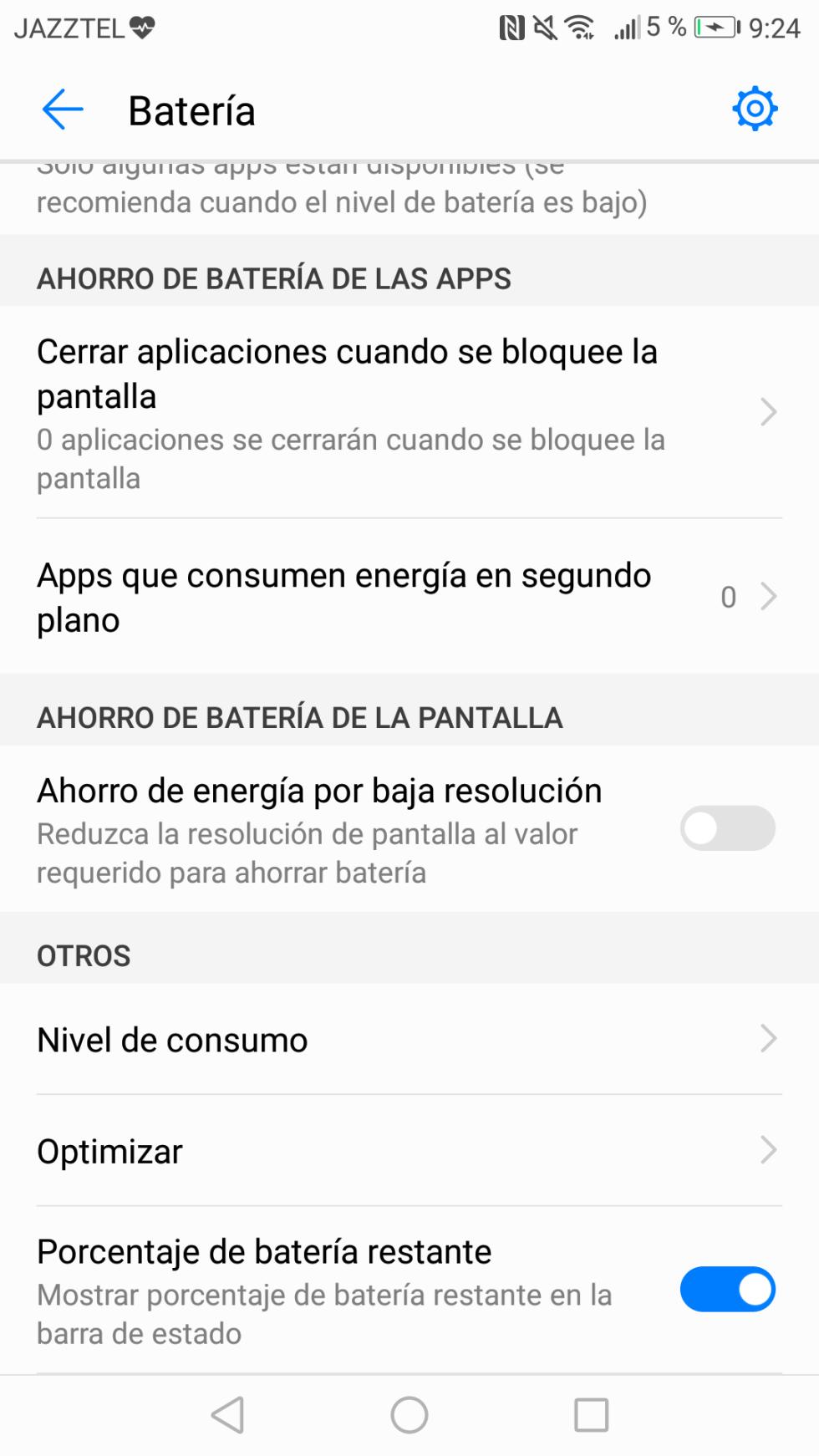 Batería del Huawei P8 Lite 2017: consumo, autonomía y opciones de ahorro