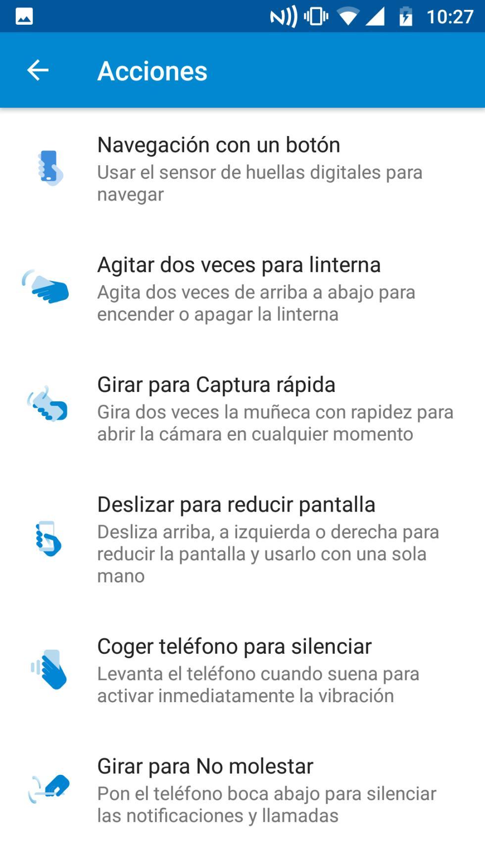 En esta aplicación podemos asociar diferentes funciones a gestos tales como, por ejemplo, agitar el teléfono