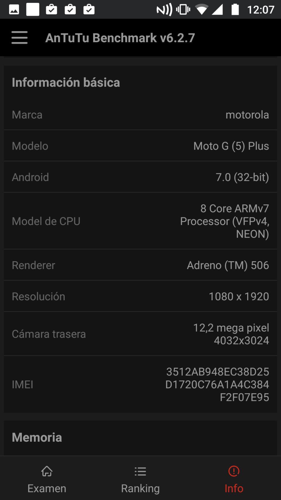 Y, para asegurarnos de que todo está en orden, aquí podemos ver las características de este móvil de Motorola que detecta AnTuTu