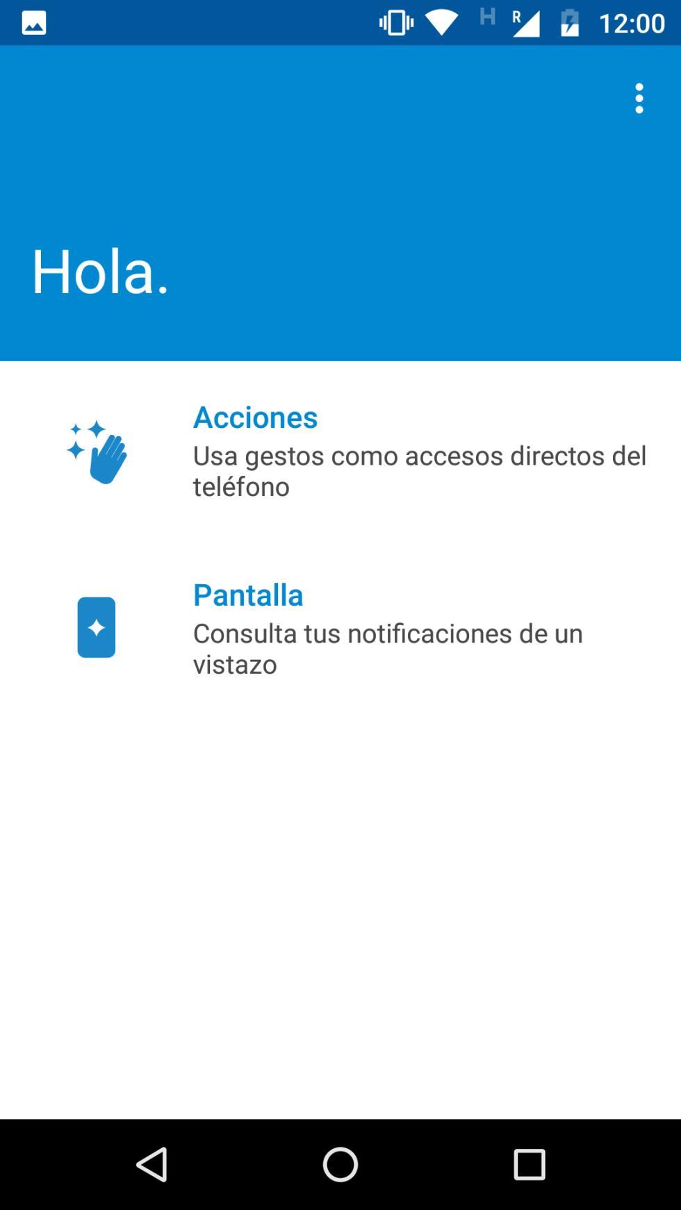 Interfaz del Moto G5