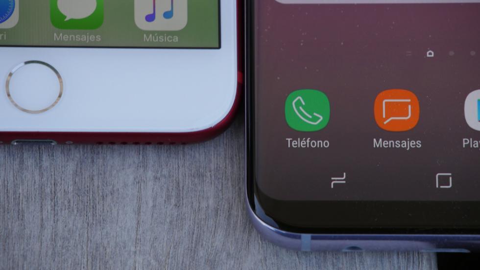 El Touch ID del iPhone frente al botón táctil integrado del Samsung Galaxy S8 Plus