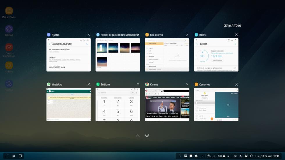 Interfaz de Samsung DeX: así es el aspecto del escritorio de Samsung