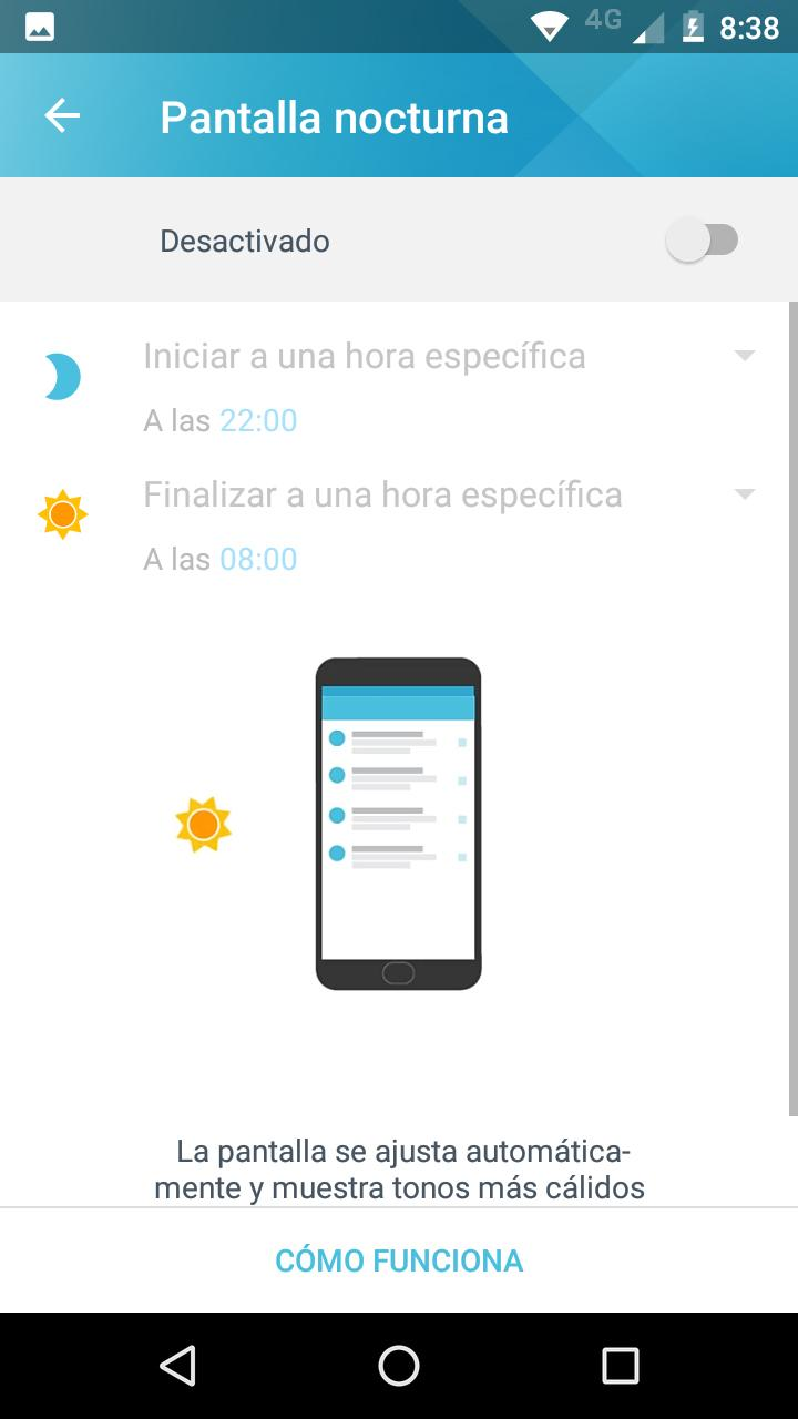 Interfaz del Moto E4