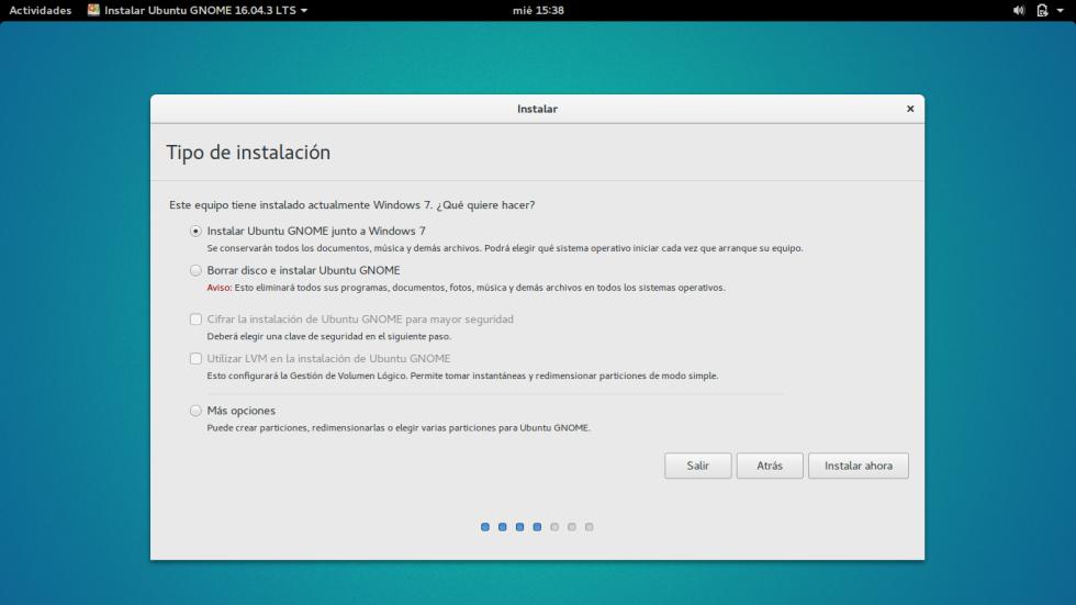 """Selecciona """"Instalar Linux"""" junto a Windows y dale a siguiente."""