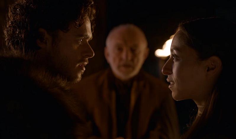 Robb Stark no se casa por amor, sino porque ha dejado embarazada a una mujer que, por otra parte, es hija de una de las casas leales a los Lannister.