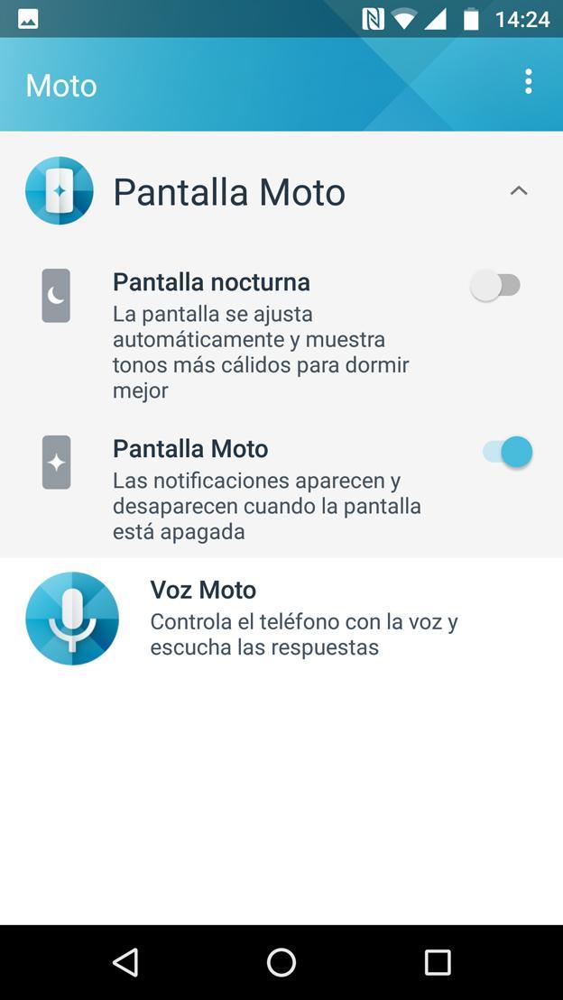 Interfaz del Moto Z2 Play