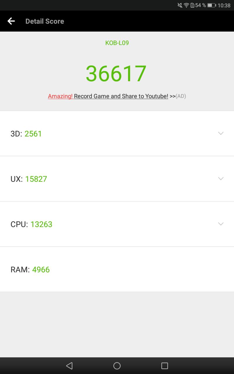 Resultado de la Huawei Mediapad T3 8.0 en AnTuTu.