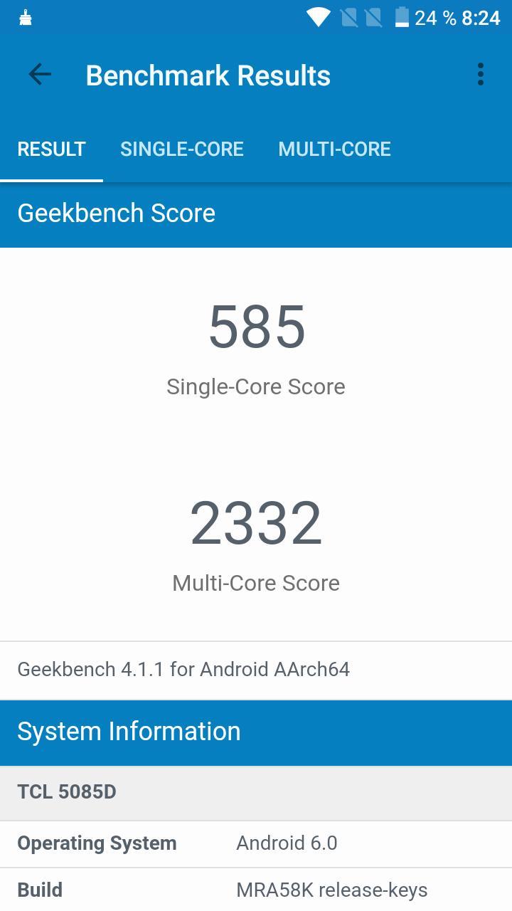 Pruebas de rendimiento del Alcatel A5 LED: AnTuTu y GeekBench 4