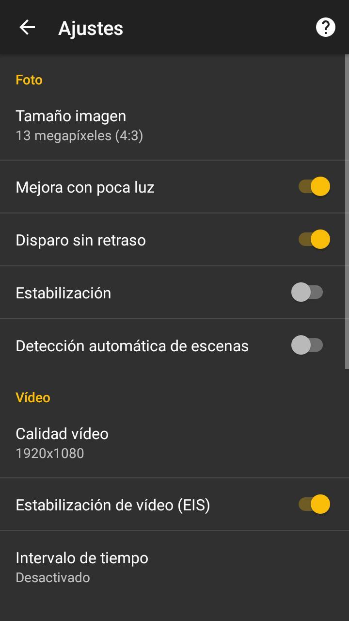Aplicación de cámara del Alcatel A5 LED