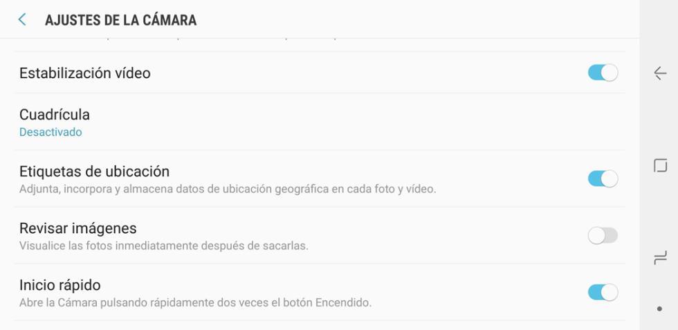 Aplicación de cámara del Samsung Galaxy Note 8