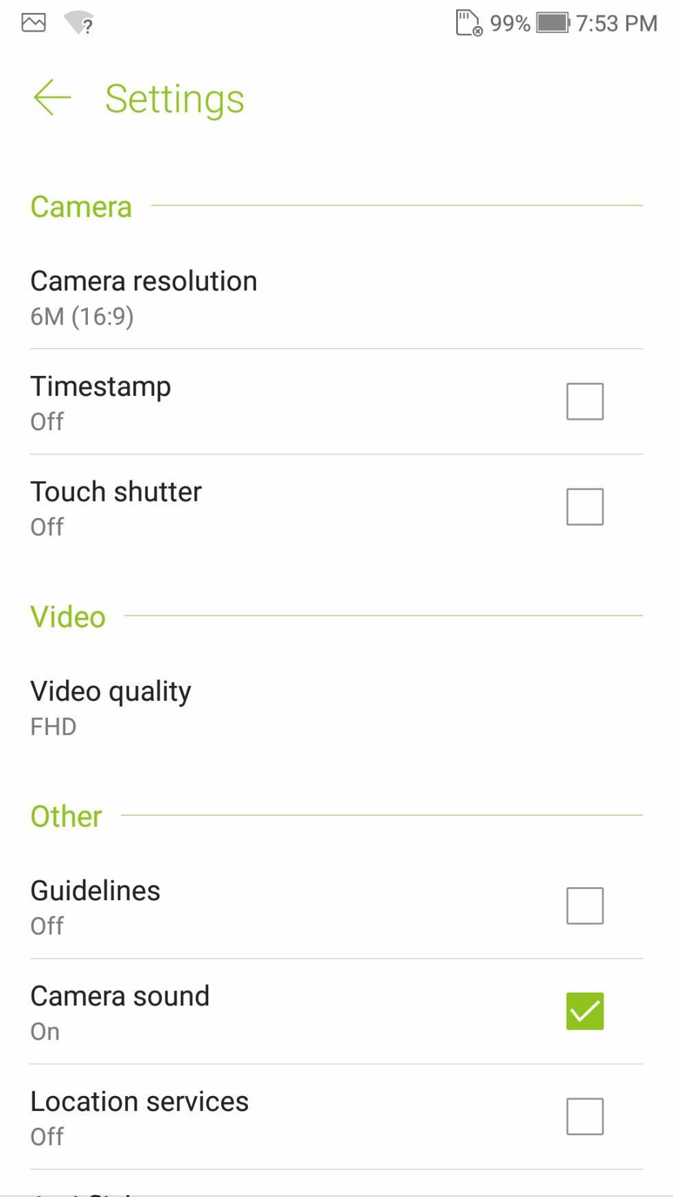 Así es la interfaz de cámara del Asus ZenFone 4