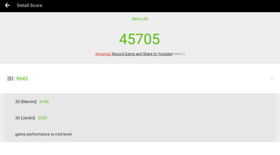 Resultados de la MediaPad M3 Lite 10 en Antutu.