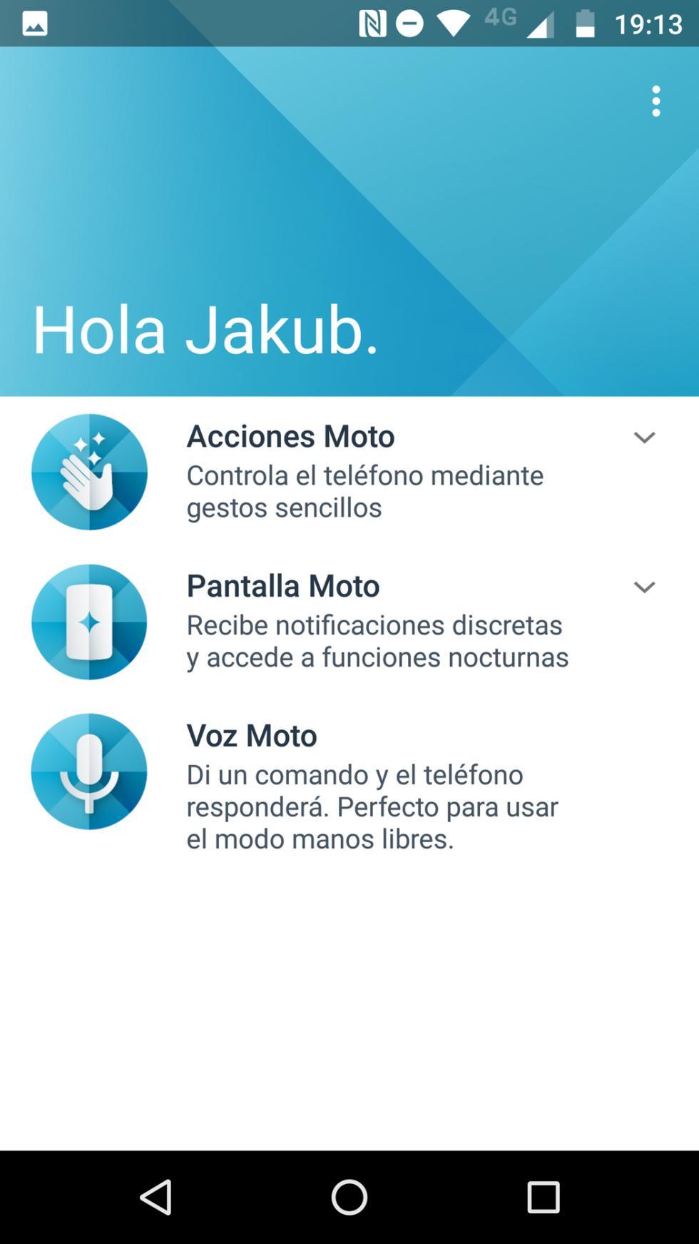 Interfaz del Moto Z2 Force