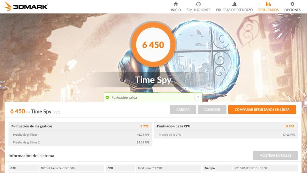 Resultado de 3DMark TimeSpy de Lenovo Legion Y920 Tower