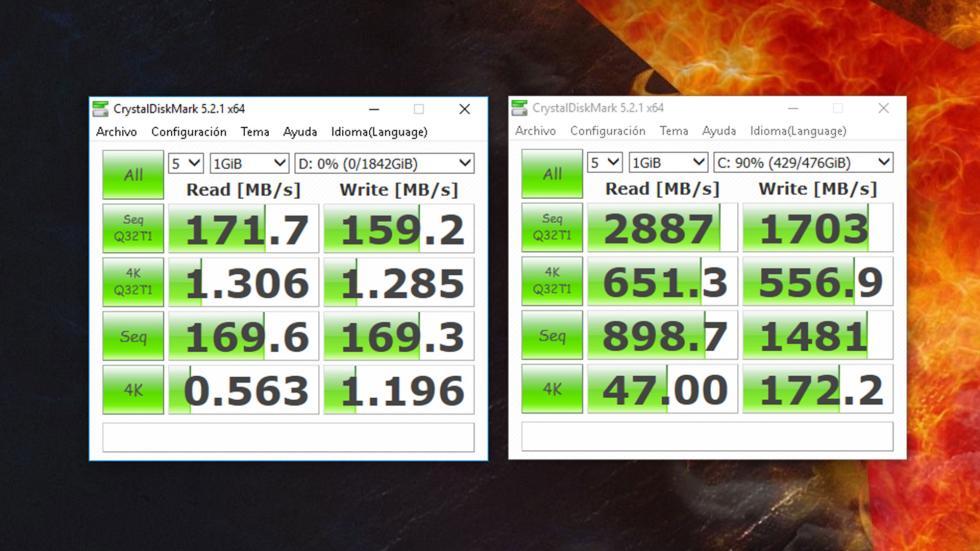 Resultado de CrystalDiskMark de Lenovo Legion Y920 Tower