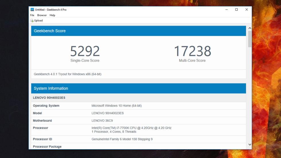 Resultado de Geekbench 4 de Lenovo Legion Y920 Tower