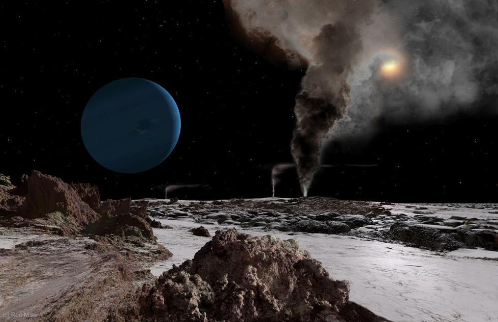 Neptuno y el Sol vistos desde Tritón.