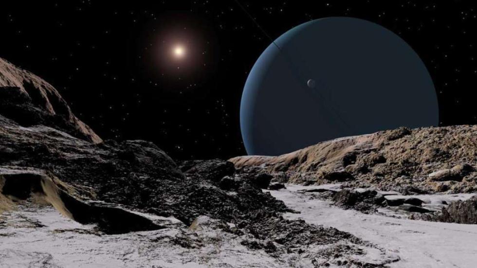 Urano y el Sol desde la Luna Ariel.