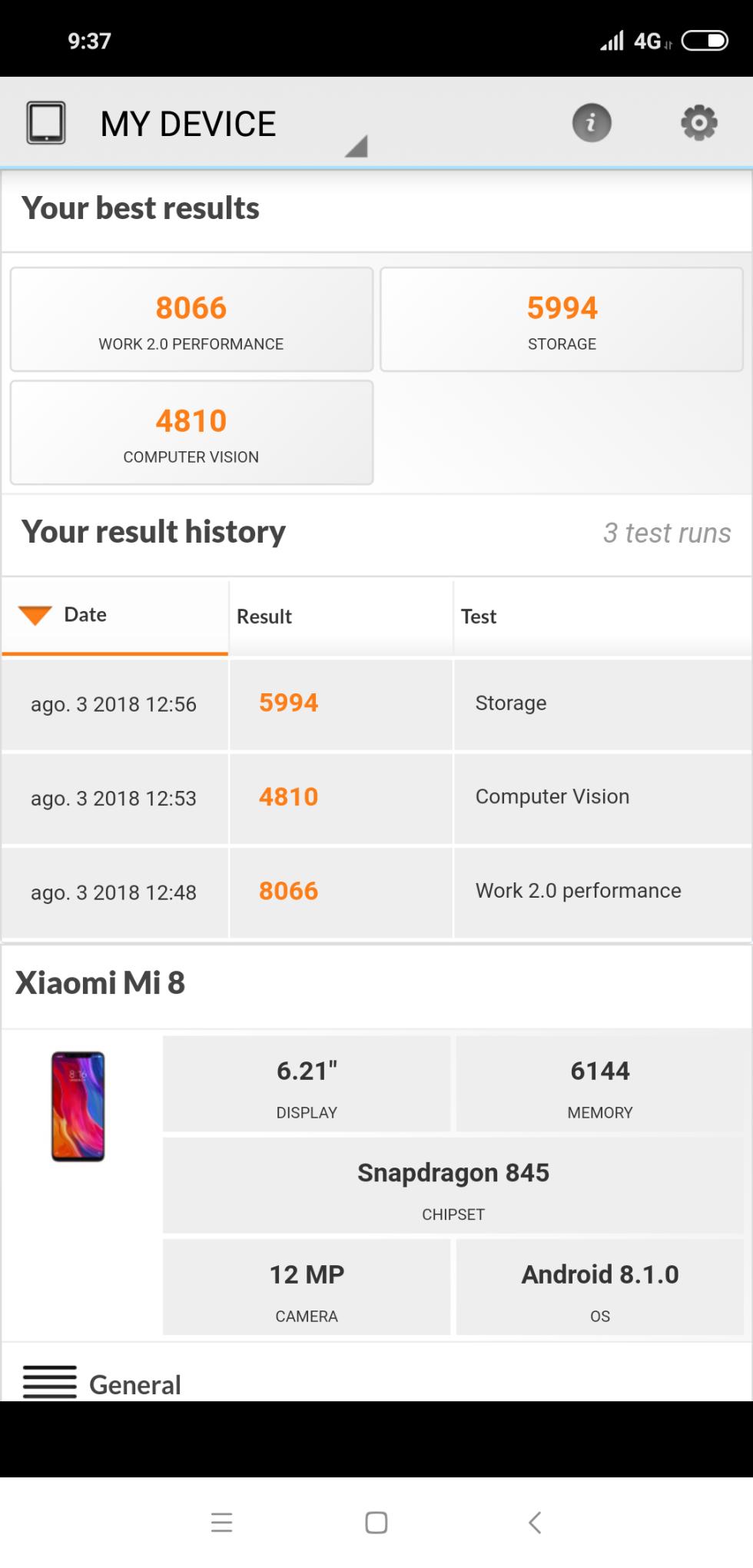 Benchmarks del Xiaomi Mi 8